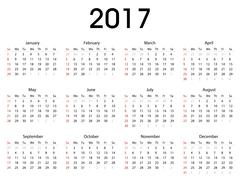 Simple 2017 calendar template for commercial and private use Stock Illustration
