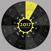 Circle 2017 calendar template for commercial and private use Stock Illustration