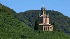 Prosecco vineyards and San Martino temple Stock Footage