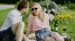 Romantic couple talking Stock Footage