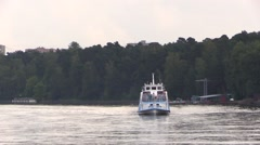 The old pleasure boat floats the river Stock Footage