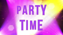 Party Time 3d Funky Text Animation with Lights and Particles Stock Footage