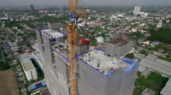 High Rise Building Under Construction Stock Footage