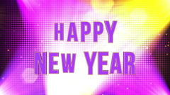 Happy New Year 3D Funky Title Animation with Lights and Particles Stock Footage