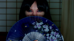 4k Anime Shot of a Japanese Woman Geisha Posing with a Purple Fan, half face - stock footage