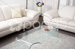 Modern white leather couch Stock Photos