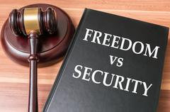 Restrictions on freedom and liberty vs national security concept. Kuvituskuvat