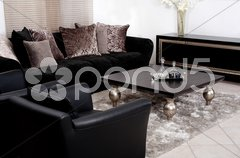Contemporary sofa in modern living room - stock photo
