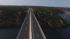 Aerial view of bridge of Croatian autobahn near Sibenik. 4K Arkistovideo