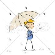 Vector kid enjoying rain Stock Illustration