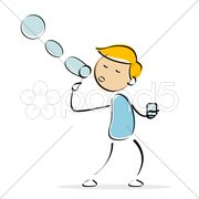 Vector boy blowing bubbles Stock Illustration