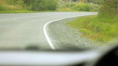 Road from salon of the car behind the wheel Stock Footage