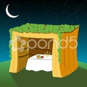 vector sukkot hut - stock photo