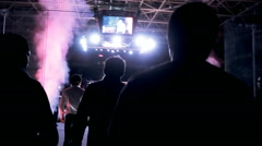 Fighter enters the ring out of the darkness Stock Footage