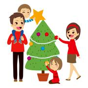 Family Decorating Christmas Tree Stock Illustration