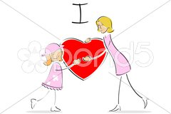 Mother and daughter hugging each other Stock Illustration