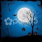 Halloween pumpkin in graveyard Stock Illustration