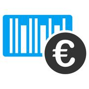 Euro Bar Code Price Flat Vector Icon Stock Illustration