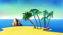 Palm Trees on a Deserted Coast of the Tropical Island Stock Illustration