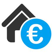 Euro Home Rent Flat Vector Icon Stock Illustration