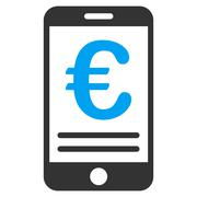 Euro Mobile Banking Flat Vector Icon Stock Illustration