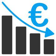 Euro Recession Bar Chart Flat Vector Icon Stock Illustration