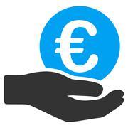 Euro Salary Flat Vector Icon - stock illustration