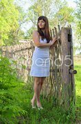 Rural scene with beauty girl. Stock Photos