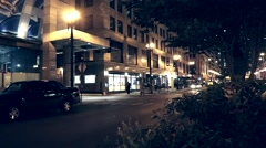 Chicago Street at Night Stock Footage