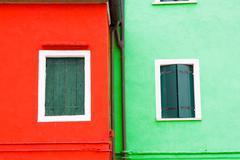 Colorful windows in Burano island, Italy - stock photo