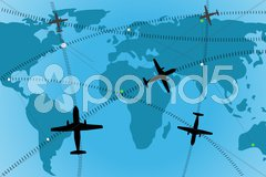 airline route - stock photo