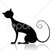 Black cat silhouette Stock Illustration