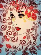 Autumn Girl with Floral Grunge Stock Illustration