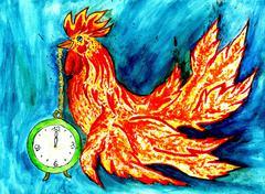 Fancy Rooster Art Stock Illustration