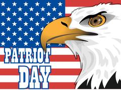 Patriot day card with the flag of unites states of america and big eagle bird Stock Illustration