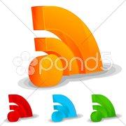 Rss feed icon set Stock Illustration