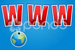 www with hanging globe - stock photo