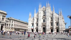 Tourists walking in front of the Duomo in Milan Stock Footage