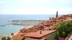 View of Menton, French Riviera Stock Footage