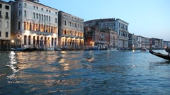 Tourists enjoying the gondolas in the canals near the Rialto bridge, Venice Stock Footage