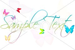 Sample text with butterflies Stock Illustration