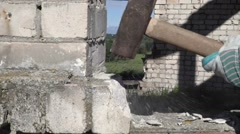 Sledgehammer in action slow motion Stock Footage