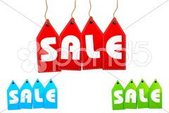 set of sale tags - stock photo