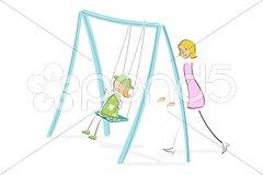 Mom pushing daughter on swing Stock Illustration