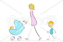 Mother with kids Stock Illustration