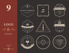Vector Badges Rock, Rap, Classical and Disco Music Piirros
