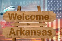 Welcome to Arkansas in USA sign in wood, travell theme Stock Photos