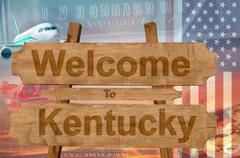 Welcome to Kentucky state in USA sign on wood, travell theme Stock Photos