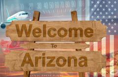 Welcome to Arizona in USA sign in wood, travell theme Stock Photos