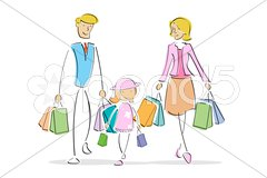 family in shopping - stock photo